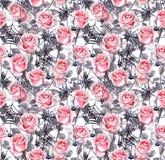 Ρόδινα τριαντάφυλλα, αράχνες, Ιστοί Αποκριές που επαναλαμβάνουν το υπόβαθρο watercolor Στοκ εικόνες με δικαίωμα ελεύθερης χρήσης