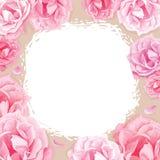 Ρόδινα τριαντάφυλλα σε ένα μπεζ υπόβαθρο απεικόνιση αποθεμάτων