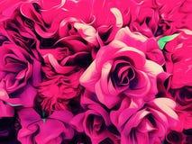 Ρόδινα τριαντάφυλλα σχεδιασμού και ζωγραφικής Στοκ Φωτογραφίες