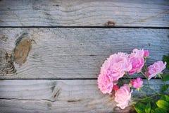 Ρόδινα φρέσκα λουλούδια τριαντάφυλλων στο αγροτικό ξύλινο υπόβαθρο Στοκ Εικόνα