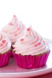 Ρόδινα cupcakes κρητιδογραφιών Στοκ Εικόνες
