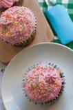 Ρόδινα cupcakes Στοκ εικόνα με δικαίωμα ελεύθερης χρήσης
