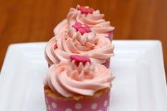 Ρόδινα cupcakes Στοκ φωτογραφία με δικαίωμα ελεύθερης χρήσης