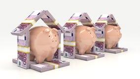 Ρόδινα piggy τράπεζα και euro-dollar με μορφή ενός σπιτιού τρισδιάστατη απομονωμένη επένδυση απόδοση έννοιας Στοκ εικόνα με δικαίωμα ελεύθερης χρήσης