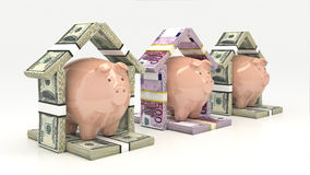 Ρόδινα piggy τράπεζα και euro-dollar με μορφή ενός σπιτιού τρισδιάστατη απομονωμένη επένδυση απόδοση έννοιας Στοκ φωτογραφίες με δικαίωμα ελεύθερης χρήσης