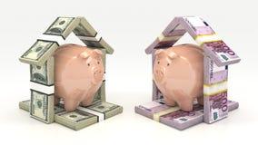 Ρόδινα piggy τράπεζα και euro-dollar με μορφή ενός σπιτιού τρισδιάστατη απομονωμένη επένδυση απόδοση έννοιας Στοκ Φωτογραφίες