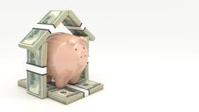 Ρόδινα piggy τράπεζα και euro-dollar με μορφή ενός σπιτιού τρισδιάστατη απομονωμένη επένδυση απόδοση έννοιας Στοκ φωτογραφία με δικαίωμα ελεύθερης χρήσης