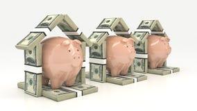 Ρόδινα piggy τράπεζα και euro-dollar με μορφή ενός σπιτιού τρισδιάστατη απομονωμένη επένδυση απόδοση έννοιας Στοκ Εικόνες