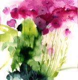 Ρόδινα wildflowers Watercolor Στοκ Φωτογραφίες