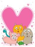 ρόδινες βιταμίνες κατοικίδιων ζώων αγάπης καρδιών mices Στοκ Εικόνα