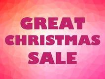 Ρόδινες επιστολές εμβλημάτων πώλησης Χριστουγέννων στο ζωηρόχρωμο υπόβαθρο Στοκ Εικόνα