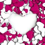 Ρόδινες και άσπρες καρδιές ομάδας στο άσπρο υπόβαθρο Στοκ Εικόνες