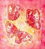 Ρόδινες και κίτρινες πεταλούδες watercolors Στοκ Εικόνα