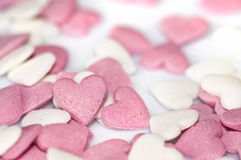 Ρόδινες καρδιές ζάχαρης Στοκ Εικόνες