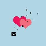 Ρόδινες καρδιές με ένα τηλέφωνο Στοκ φωτογραφία με δικαίωμα ελεύθερης χρήσης