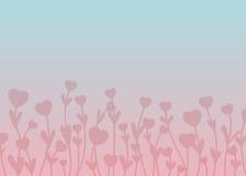 Ρόδινες καρδιές σκιαγραφιών στους μίσχους με τα φύλλα σε ρόδινη και μπλε GR Στοκ Εικόνα