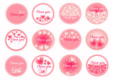 Ρόδινες καρδιές στην ομάδα κύκλων, ιδανική για την ημέρα βαλεντίνων, σύνολο εικονιδίων καρδιών, διανυσματική συλλογή της καρδιάς, Στοκ Εικόνες