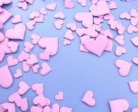 Ρόδινες καρδιές - τρισδιάστατη απεικόνιση Στοκ Φωτογραφία