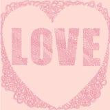 Ρόδινη λέξη καρδιών αγάπης Στοκ Εικόνα
