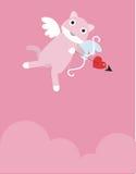 Ρόδινη γάτα έρωτα Στοκ Εικόνες