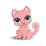Ρόδινη γάτα διανυσματική απεικόνιση