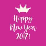 Ρόδινη ευχετήρια κάρτα καλής χρονιάς 2017 με μια κορώνα Στοκ εικόνες με δικαίωμα ελεύθερης χρήσης
