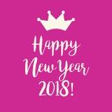 Ρόδινη ευχετήρια κάρτα καλής χρονιάς 2018 με μια κορώνα Στοκ εικόνα με δικαίωμα ελεύθερης χρήσης