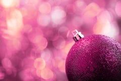 Ρόδινη κάρτα Χριστουγέννων Στοκ Φωτογραφίες
