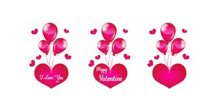 Ρόδινη καρδιά με τα μπαλόνια Στοκ Εικόνα