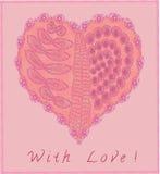 Ρόδινη καρδιά με το χέρι - γίνοντα doodle σχέδια διανυσματική απεικόνιση