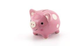 ρόδινη κεραμική piggy τράπεζα που απομονώνεται στο άσπρο υπόβαθρο Στοκ Εικόνες