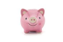 ρόδινη κεραμική piggy τράπεζα που απομονώνεται στο άσπρο υπόβαθρο Στοκ Φωτογραφία
