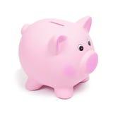 Ρόδινη κεραμική piggy τράπεζα, που απομονώνεται στο άσπρο υπόβαθρο Στοκ Εικόνα