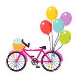 Ρόδινη κοριτσίστικη διανυσματική απεικόνιση ποδηλάτων δώρων Στοκ Φωτογραφία