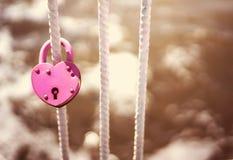 Ρόδινη κλειστή γάμος κλειδαριά υπό μορφή καρδιάς Στοκ εικόνες με δικαίωμα ελεύθερης χρήσης