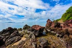 Ρόδινη πέτρα Arkose, ψαμμίτης Arkosic κοντά στην παραλία, ρόδινο sto Στοκ εικόνες με δικαίωμα ελεύθερης χρήσης