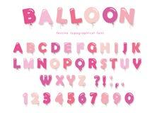 Ρόδινη πηγή μπαλονιών Χαριτωμένες επιστολές και αριθμοί ABC Για τα γενέθλια, ντους μωρών Girly απεικόνιση αποθεμάτων