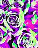 Ρόδινη πορφυρή και πράσινη περίληψη σύστασης τριαντάφυλλων Στοκ εικόνα με δικαίωμα ελεύθερης χρήσης