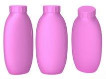 Ρόδινη πλαστική συσκευασία μπουκαλιών με το ψαλίδισμα της πορείας για το cosmatics α Στοκ φωτογραφία με δικαίωμα ελεύθερης χρήσης
