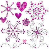 Ρόδινη ρομαντική συλλογή διακοσμήσεων καρδιών Στοκ Εικόνες