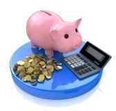 Ρόδινη τράπεζα Piggy με τον υπολογιστή και τα χρυσά νομίσματα Στοκ Εικόνες