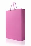 Ρόδινη τσάντα αγορών, που απομονώνεται με το ψαλίδισμα της πορείας στο άσπρο backgrou Στοκ φωτογραφία με δικαίωμα ελεύθερης χρήσης