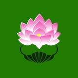 Ρόδινη τυποποιημένη εικόνα ενός λουλουδιού λωτού σε ένα πράσινο υπόβαθρο Το σύμβολο της δέσμευσης για το Βούδα στην Ιαπωνία Στοκ Εικόνες