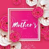 Ρόδινη χρυσή ευτυχής ευχετήρια κάρτα ημέρας μητέρων γυναίκες ημέρας s Λουλούδι περικοπών εγγράφου Όμορφη ανθοδέσμη Origami Τετραγ ελεύθερη απεικόνιση δικαιώματος
