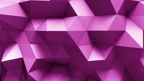 Ρόδινη polygonal γεωμετρική επιφάνεια ο υπολογιστής παρήγαγε το άνευ ραφής υπόβαθρο κινήσεων βρόχων αφηρημένο διανυσματική απεικόνιση