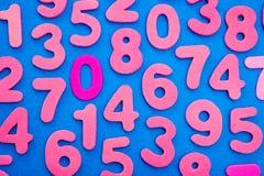 Ρόδινοι αριθμοί στο μπλε Στοκ φωτογραφίες με δικαίωμα ελεύθερης χρήσης