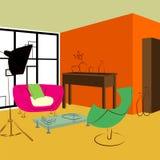 Ρόδινος καναπές και πράσινη καρέκλα στο καθιστικό Στοκ Φωτογραφίες