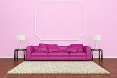 Ρόδινος καναπές με τη διακόσμηση τοίχων απεικόνιση αποθεμάτων
