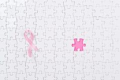 Ρόδινος καρκίνος του μαστού κομματιών κορδελλών και γρίφων Στοκ φωτογραφία με δικαίωμα ελεύθερης χρήσης