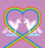 Ρόδινος μονόκερος στον πορφυρό ουρανό Καρδιά του ουράνιου τόξου Χαρακτήρες LGBT φ Στοκ Φωτογραφίες